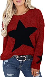 Womens Pullover Sweaters Star Graphic Cable Knit Oversize Winter Jumper Outwears