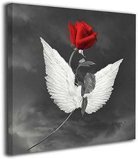 黒と黒のバラの天使の翼 アートポスター ポスター キャンバス絵画 インテリアアート アートパネル 現代壁の絵 壁掛け 40*40cm 木枠付きの完成品
