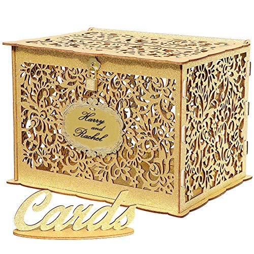 OurWarm Glittery Gold Wedding Card Box with Lock, Wood Gift Card Box Holder Money Box for Wedding Reception Baby Shower Birthday Party, Open House Celebration or Graduation Party Decorations