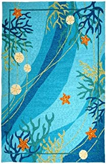Homefires Underwater Coral and Starfish 8-Feet by 10-Feet Indoor Outdoor Hand Hooked Area Rug