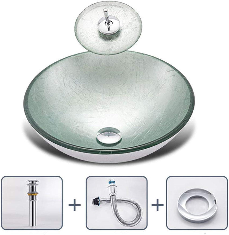 Waschbecken Mit Wasserhahn Aus Gehrtetem Glas Kunst Kreative Waschbecken Waschbecken Hotel Familienbadezimmer, Silber Wei E