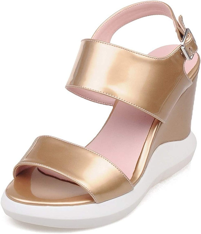 QianQianStore New Summer Sandals Open Toe Wedges Sandals Platform high Heels Platform Sandals Buckle Women shoes