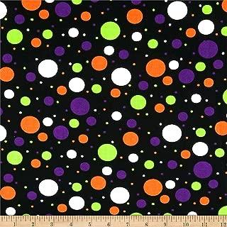 Santee Print Works Halloween Multidots Fabric, Black/Multi, Fabric By The Yard