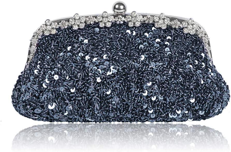 HttKse Evening Bags Rhinestone Beaded Sequins Banquet Bag Shoulder Diagonal Package (Color : Gray, Size : 25cm x 12cm)