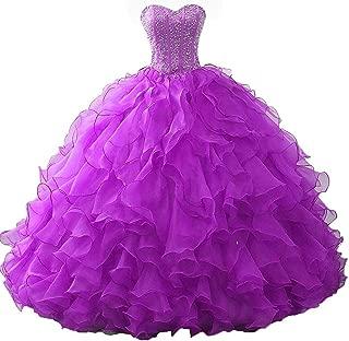 OkayBridal Women's Ball Gown Quinceanera Dresses Organza Ruffles Beaded Off Shoulder Sweet 16 Dresses