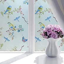 Yooha Frosted Window Film, Non-Adhesive No Glue Static Cling Textured Stain Privacy Window Film Glass Film Window Stickers with Fresh Bird Flower Butterfly Dragonfly Pattern for Home Bathroom Office