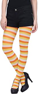 Women's Striped Tights Full Length Sheer Microfiber Nylon Footed Stockings