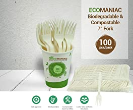 Ecomaniac: Eco friendly Fork |Compostable Fork | Disposable Fork | Biodegradable Fork | 7'' [100 PCs] | Best for Office Event, Picnic or Party (Made of Corn starch Natural Colour