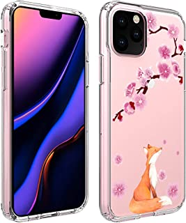 Ftonglogy for iPhone 11 Pro Women Case, Flexible Soft Non-Slip Shock Absorption Cute Clear TPU Back with Cherry Blossoms Floral Flower Pattern Protective Phone Case Cover for iPhone 11 Pro (Lucky Fox