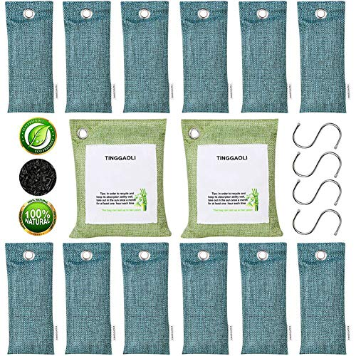 Tinggaoli 14 Pack & 4 Hooks Activated Charcoal Odor Absorber Bags (200gx2 & 50gx12)