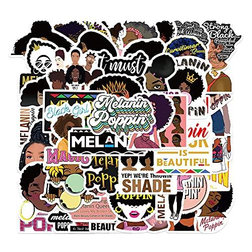 Black Girls Melanin Stickers, 50PCs, Aesthetic Vinyl Waterproof Decals, Magic Melanin Poppin Stickers for Hydro Flask, Laptop, Water Bottle, Stickers for Kids, Toddlers, Teens, Girls, Adults, Bumper Car Planner Stickers Black Girls