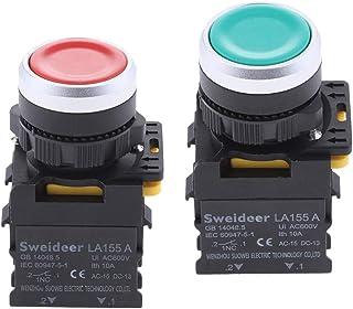 Homyl Substituição Do Interruptor de Botão de Pressão de Plástico de 22 Mm de Plástico de 22 Mm Vermelho E Verde
