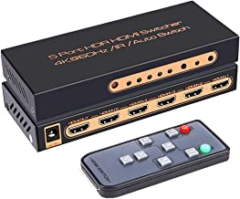ROOFULL 5 in 1 Out HDMI 2.0 Switch 4K 60Hz HDR HDCP 2.2 Dolby Vision 1080P 3D, 5x1 5 Pors HDMI 2.0 Switcher with IR Remote...