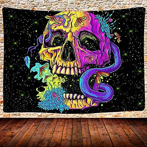 N\A Tapiz de Calavera psicodélico, Tapiz Colorido de Calavera Galaxy para Colgar en la Pared, Manta de Pared Hippie Bohemia, Dormitorio, Sala de Estar, decoración del hogar GTQQUH632