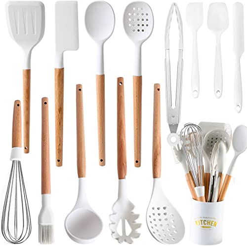 new arrival Kitchen Cooking Utensils Set, outlet online sale 14 Non-Stick Silicone Cooking Kitchen Utensils Spatula Set with Holder, Wooden Handle Silicone Kitchen Gadgets Utensil Set for Nonstick high quality Cookware online