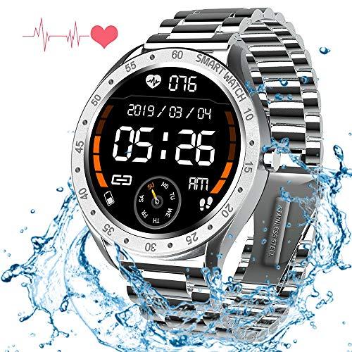 ZLI Sport Smart Watch 1,3-Zoll-Display IP67 Wasserdicht Mit Herzfrequenz- / Blutdruck- / Blutsauerstoffmonitor, Kalorienschlafmonitor Fitness-Tracker Für Ios Und Android,Silber
