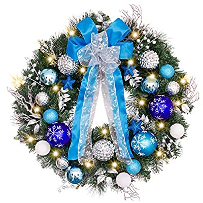 Valery Madelyn Pre-Lit 30 Inch Winter Land Blue Silver Christmas Wreath for Front Door with Ball Ornaments, Snowflakes, Pine Cones, Ribbons and Flowers, Battery Operated 40 LED Lights