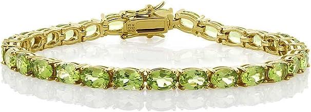 Gem Stone King 18k Yellow Gold Plated Sterling Silver Peridot Gemstone Birthstone Women's Tennis Bracelet, 12.00 Cttw Jewelry 7 Inch