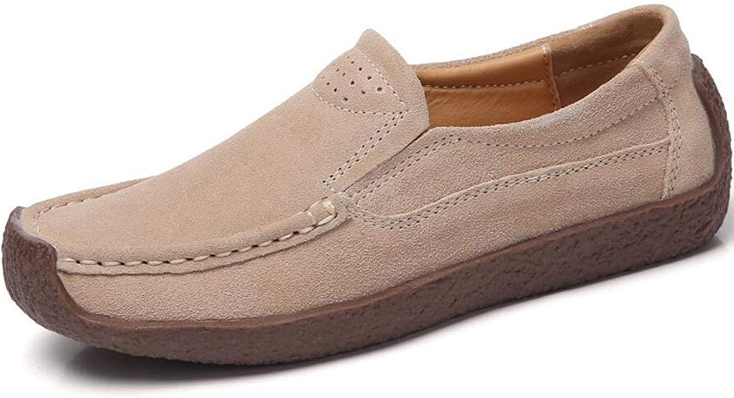 Fmshutp Womens Soft Leather Slip On Loafers Casual Flat Moccasins