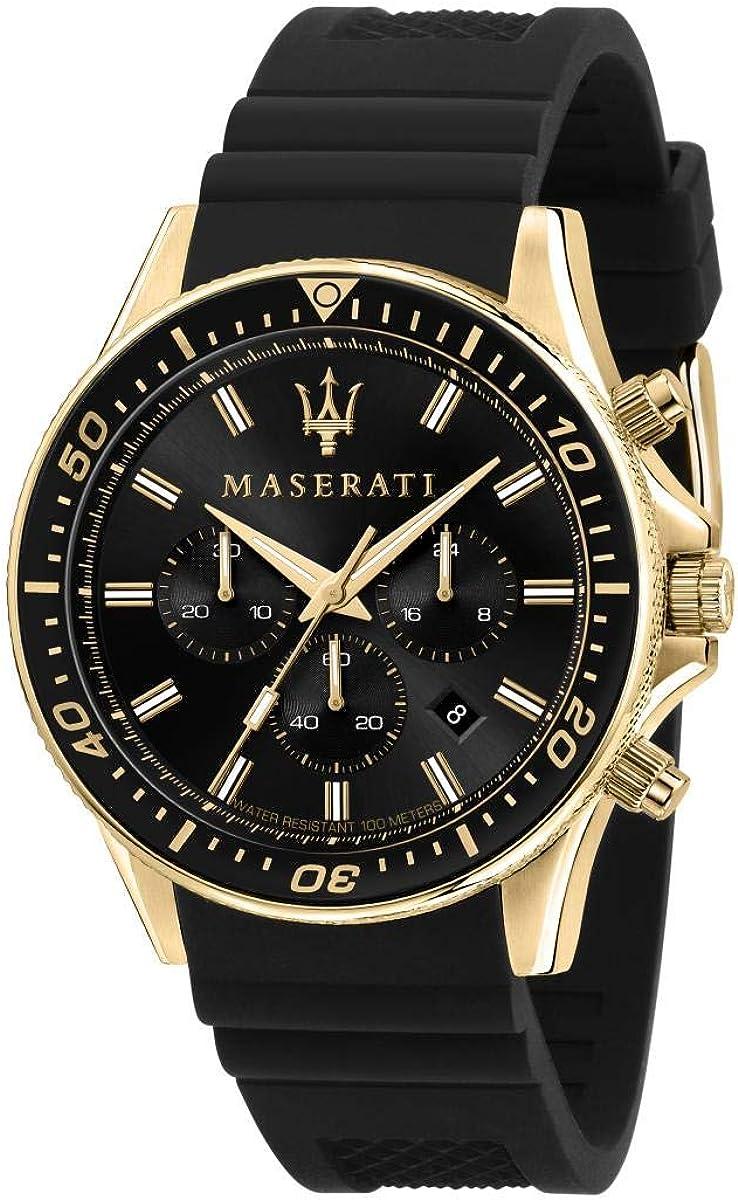 Maserati Reloj para Hombre, Colección Sfida, en Acero Inoxidable, PVD Oro, Silicona, con Correa de Silicona - R8871640001