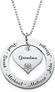 MyNameNecklace Grandma Mom Personalized Engraving Pendant Up to 7 Names Precious Metals Silver 925- Family Pendant -Mother Day Jewelry Gift