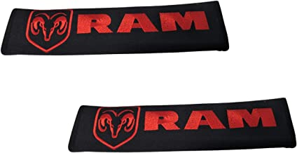 Tangpot One Pair Car Seat Belt Pad Fabric Pad Red Embroidered Stitch Wording Car Interior Accessories Compatible with Dodge RAM Car Model Seat Belt