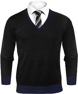 Aibrou Men's Essentials Lightweight V Neck Jumper Long Sleeve Pullover Sweater Top