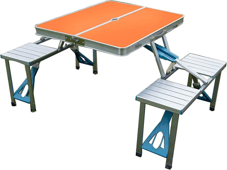 Combinación de mesa y silla de picnic de una pieza para acampar, mesa y silla de comedor plegable portátil al aire libre, mesa de aluminio con 4 asientos y agujero para sombrilla, utilizada para aca