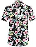 JEETOO Homme Chemise Hawaienne Casual Manches Courtes à Fleurs Été (Noir, XX-Large)