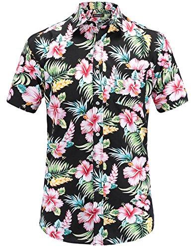 JEETOO Homme Chemise Hawaienne Casual Manches Courtes à Fleurs Été (Small,Noir)