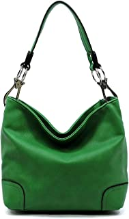 "Vegan Faux Leather Bucket Shoulder Handbag Classic Purse""Medium-large"""