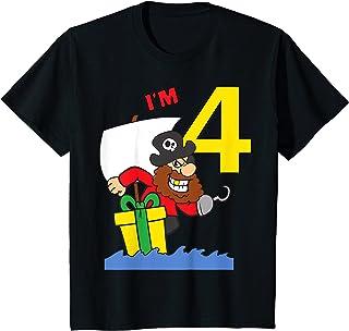 Enfant 4 Ans Anniversaire Garçon Pirate Drôle Cadeau T-Shirt