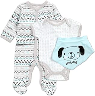 Sleeper 0-3; 3-6;6-9 Mo Bodysuit BabyGear 6 Piece Baby Gift Set bib Pants