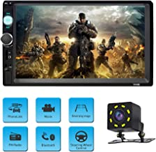 Car Stereo with Bluetooth Double Din Car Radio with Backup Camera 7 inch Touch Screen Car MP5 Player Support MP3/WMA/WAV/MKV/FLAC/OGG with Wireless Remote Control