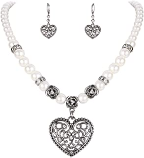 BriLove Women's Bohemian Boho Crystal Simulated Pearl Hollow Heart Shape Pendant Necklace Leverback Earrings Set Clear Antique-Silver-Tone