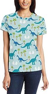 XiangHeFu T Shirt voor Vrouwen Meisjes Dinosaurussen Patroon Aangepaste Korte mouw