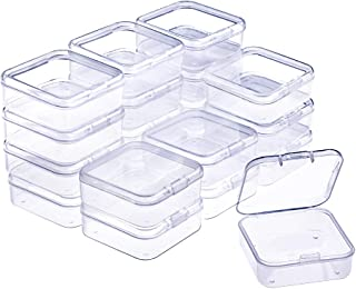 WXJ13 20 Pack Small Rectangle Clear Plastic Box Bead Storage Box with Flip Cover (2.1 x 2.1 x 0.8 Inch)