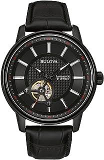 Bulova - Reloj automático para Hombre con Esfera analógica Negra y Correa de Piel Negra 98A139