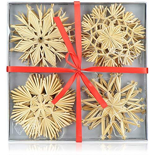 com-four® 12x Strohsterne im Mix-Set - Christbaum-Schmuck - Stroh-Anhänger für den Weihnachtsbaum - natürlicher Christbaum-Behang - Weihnachtsdekoration - Ø 11 cm