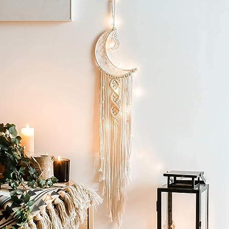 Amazon Com Khoyime Moon Dream Catcher Macrame Wall Hanging Bohemian Home Decor Handmade Woven Decoration For Kids Room Home Wedding Ornament Craft Gift Moon Light Everything Else