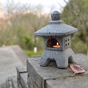 OwMell Miniature Japanese Style Pagoda Lantern for Garden Indoor Outdoor Statue Zen Garden Decor Clay 7.5 Inch