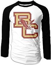 Creamfly Mens Boston College Eagles Long Sleeve Raglan Baseball Tshirt