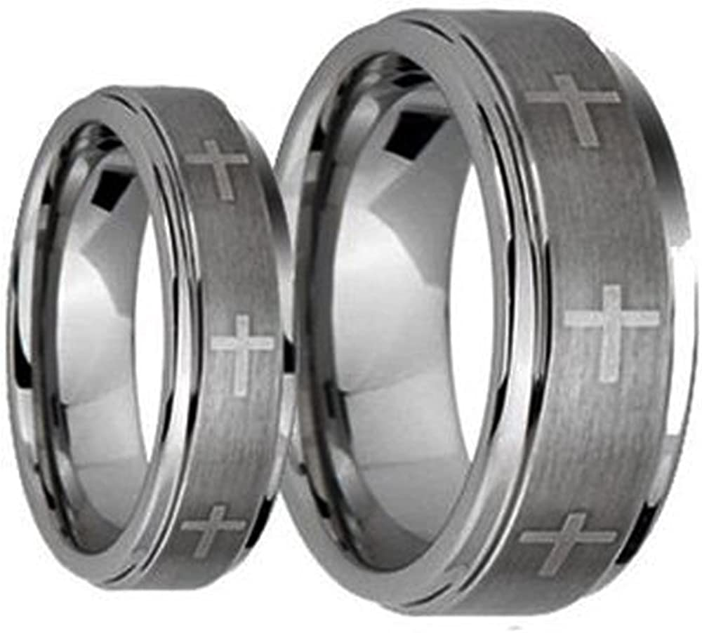 Ring for Men and Ring for Women 8MM/6MM Brushed Center With Laser Cross Engraved Shiny Edge Tungsten Carbide Wedding Band Ring Set