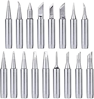 Mesee 17Pcs Soldering Tips Kit 900M Lead-Free Solder Iron Tip Welding Replacement Accessories for Hakko, Radio Shack, TENM...