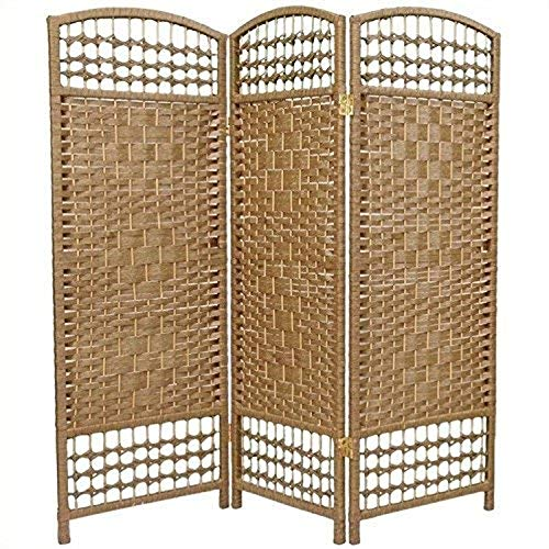 Oriental Furniture 4 ft. Tall Fiber Weave Room Divider - Natural - 3 Panels