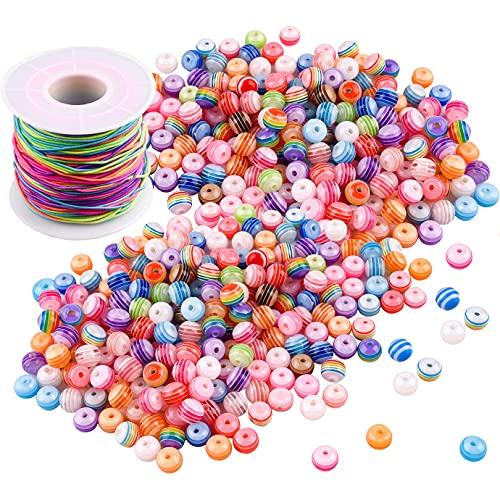 QUACOWW 300 cuentas de colores con cordón elástico de 50 m, cuentas redondas de acrílico arcoíris para pulseras DIY