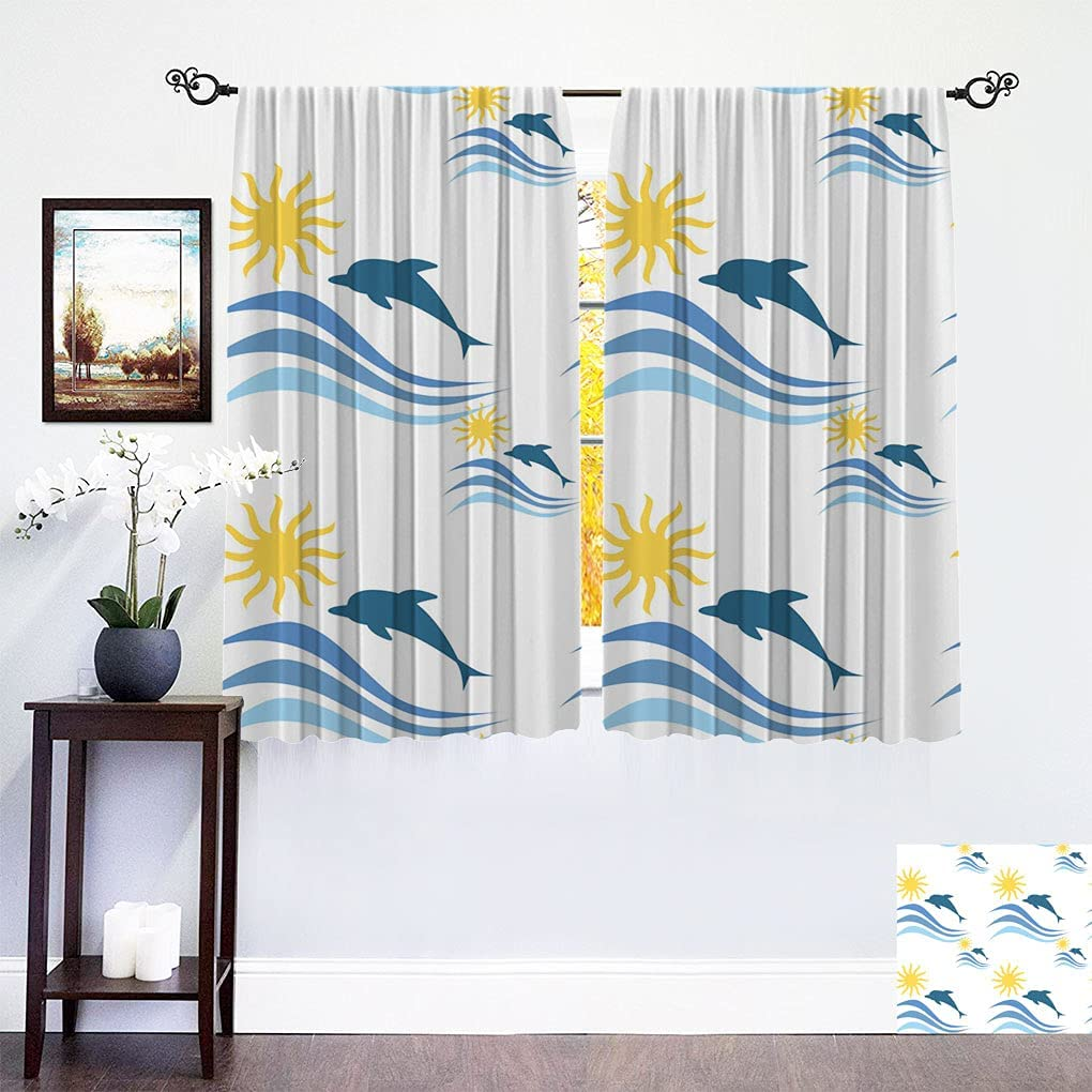 Hualidecor Max 48% OFF Sea Decor Blackout Curtains Waves Panels with Oakland Mall Do