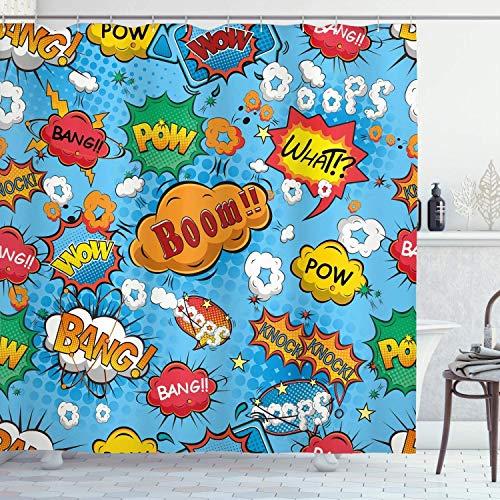 lovedomi Superhéroe Cortina Ducha Color Icono Estilo cómic Efecto Prospero Logotipo la Revista Scream Arte Pop Decoración baño Durable Impermeable Fácil Limpieza Adecuado para Ducha Hotel Baño
