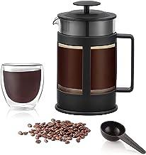 ماكينة صنع القهوة من فرينش برس (800 مل) ابريق قهوة مصنوع من الزجاج البورسليكات عالي الجودة، فلتر قهوة وشاي من الستانلس استيل.