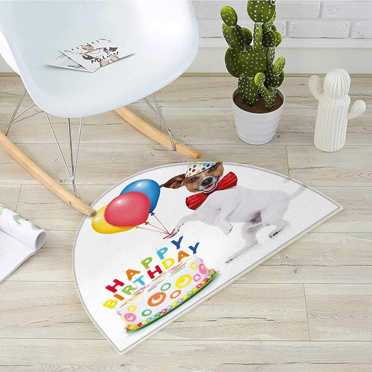Kids Birthday Half Round Door mats Celebration Dancing Party Dog with Cake and colorful Balloons Artwork Print Bathroom Mat H 39.3  xD 59  Multicolor